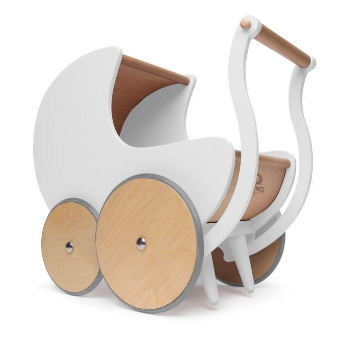 kinderfeets wooden pram in white