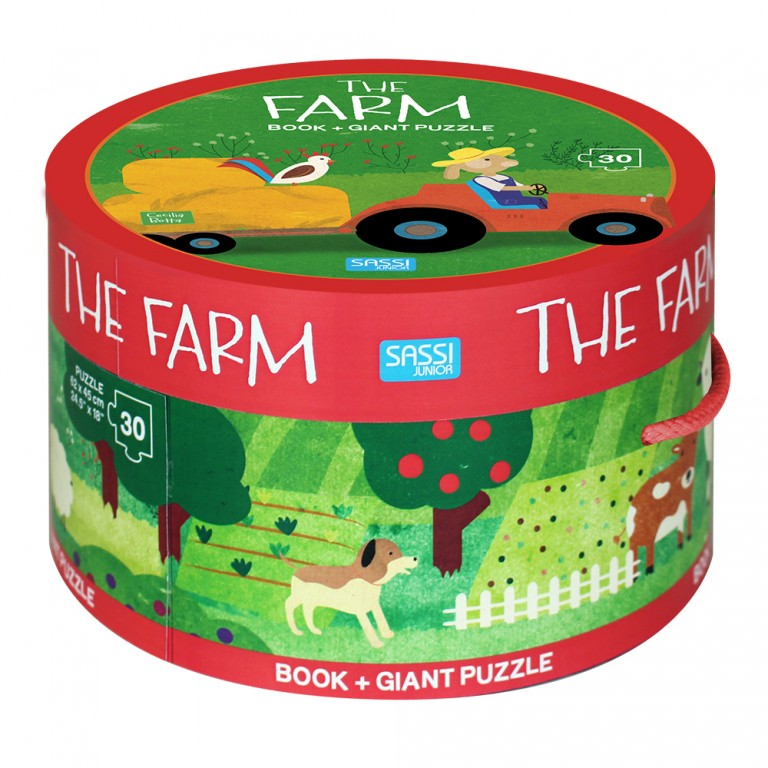 sassi book & giant puzzle set the farm 30 piece puzzle