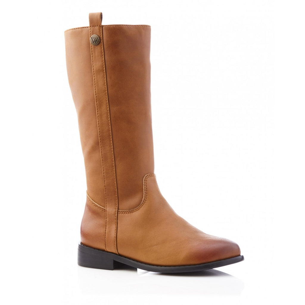 walnut lily long leather tan boot