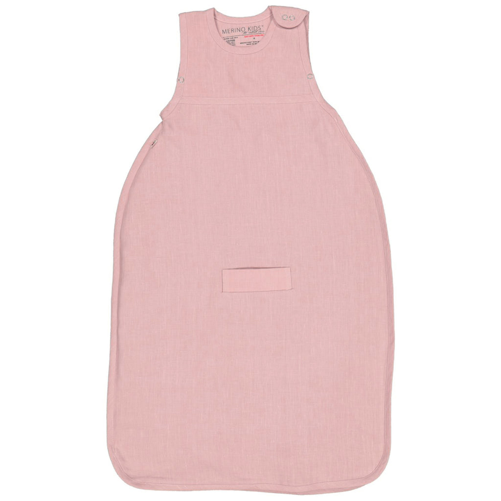 merino kids go go bag standard weight sleeping bag in dusty rose linen