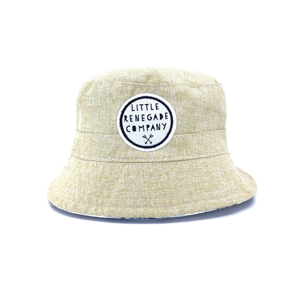 little renegade reversible bucket style sun hat in haven print