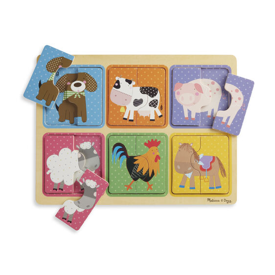 melissa & doug farm friends 12 piece wooden puzzle