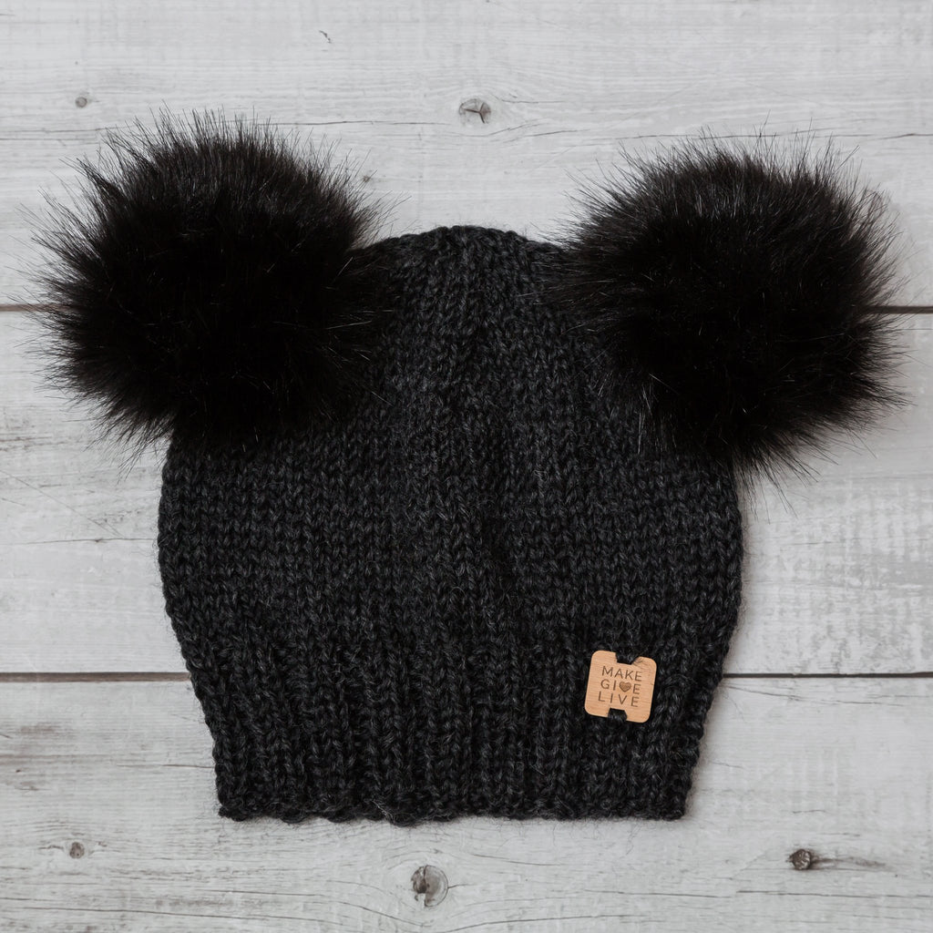make give live coco merino beanie in charcoal