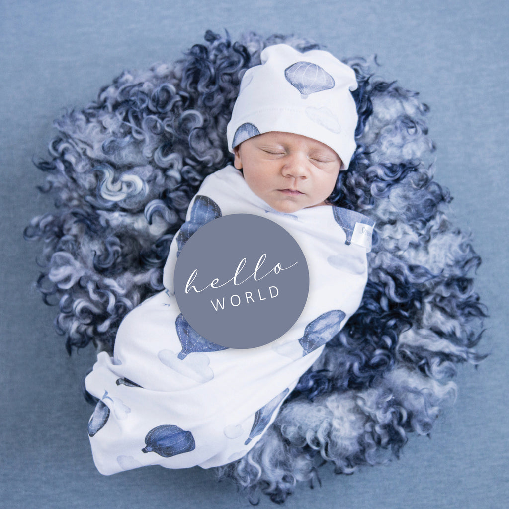 snuggle hunny kids baby milestone cards in cloud chaser + indigo