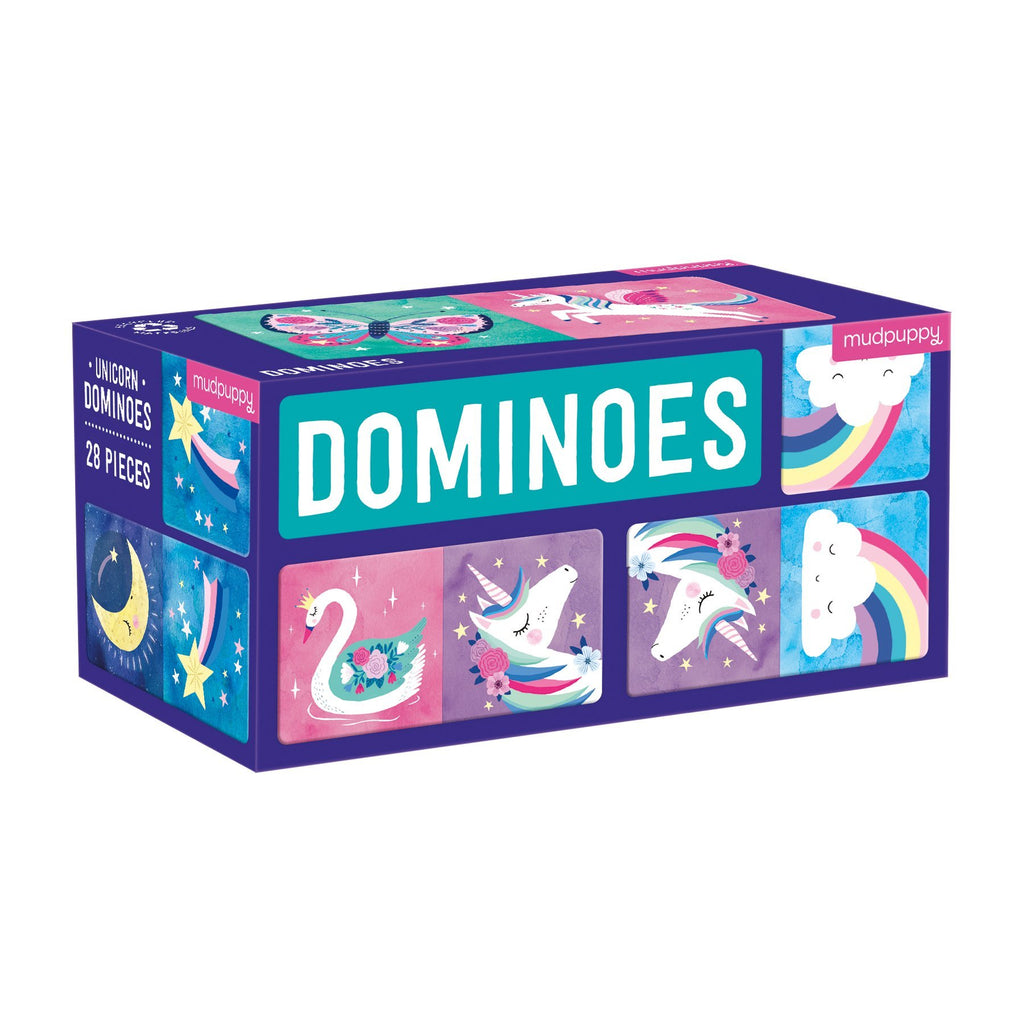 mudpuppy dominoes set unicorns