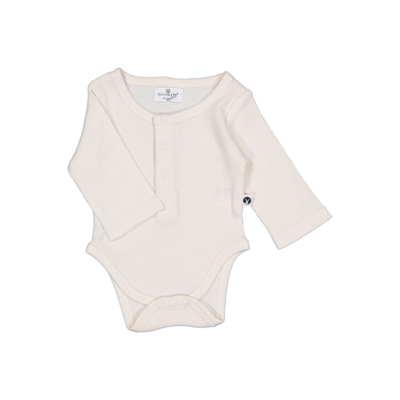 burrow & be baby essentials rib long sleeve henley bodysuit in natural