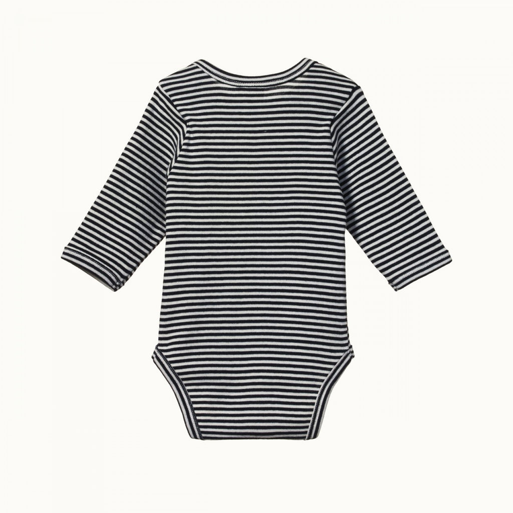 nature baby organic cotton long sleeve bodysuit in navy stripe