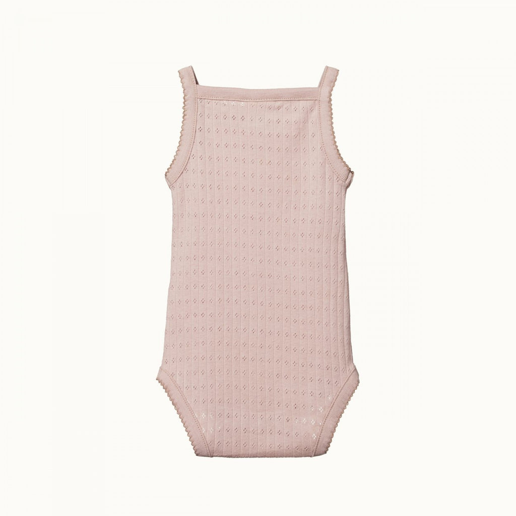 nature baby organic cotton camisole bodysuit in rose bud pointelle