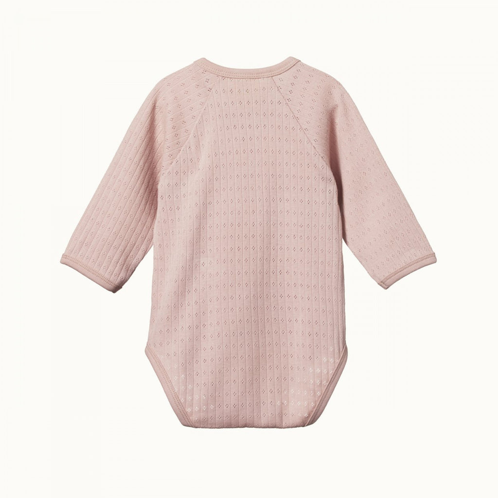 nature baby organic cotton longsleeve kimono bodysuit in rose bud pointelle