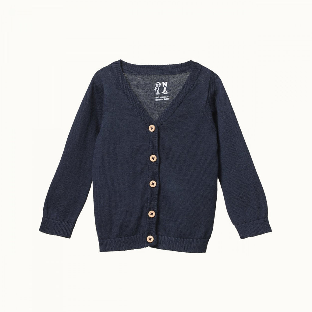 nature baby light cotton knit cardigan in navy