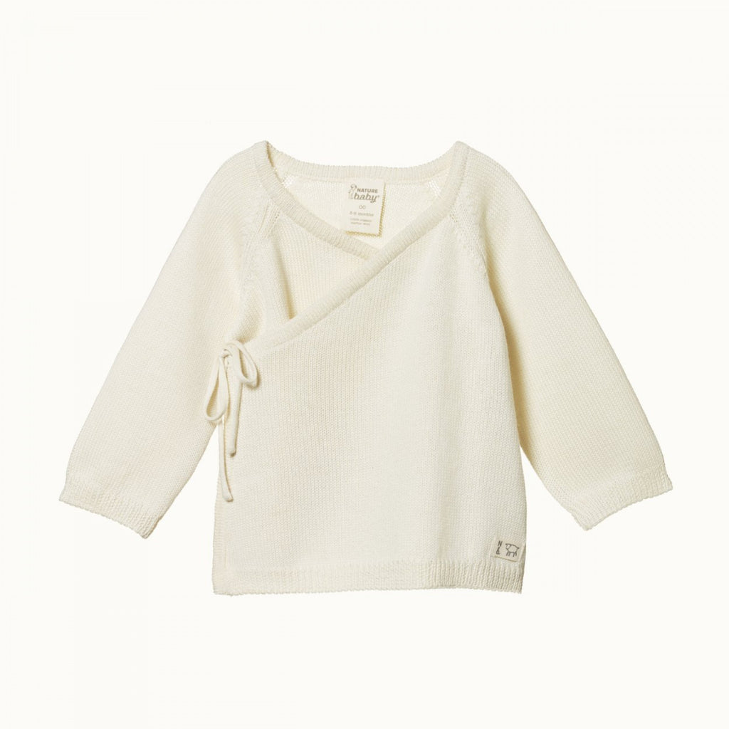 nature baby merino knit kimono jacket in natural