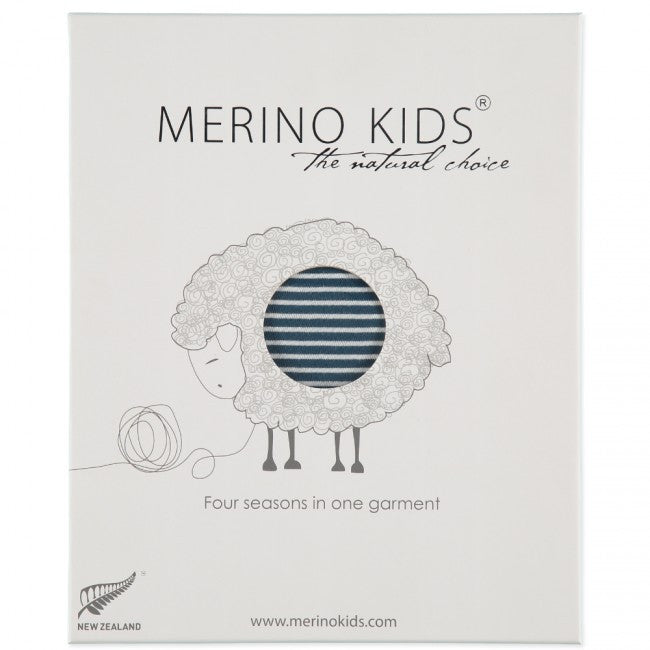merino kids standard weight go go bag in navy stripe