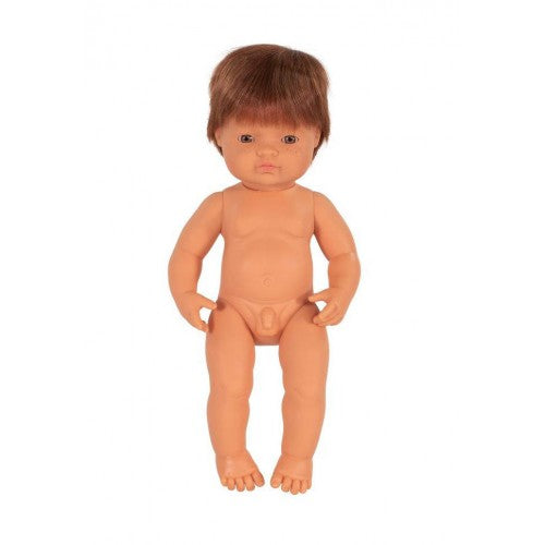 miniland 38cm anatomically correct baby doll with red head boy