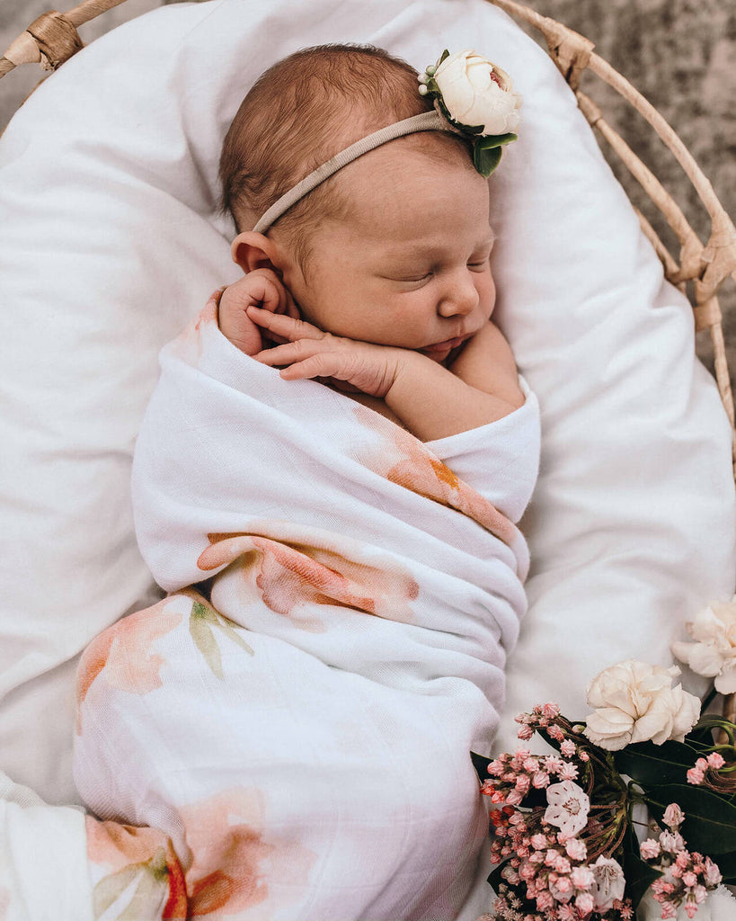 snuggle hunny kids organic muslin wrap in sorbet bloom