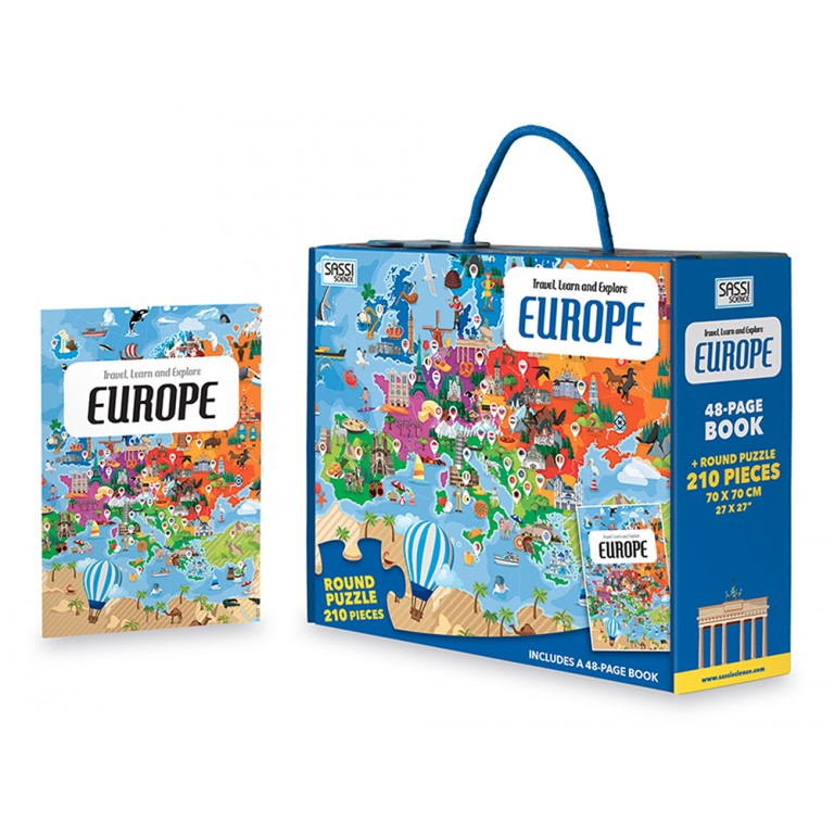 sassi puzzle & book set  europe 210 piece puzzle