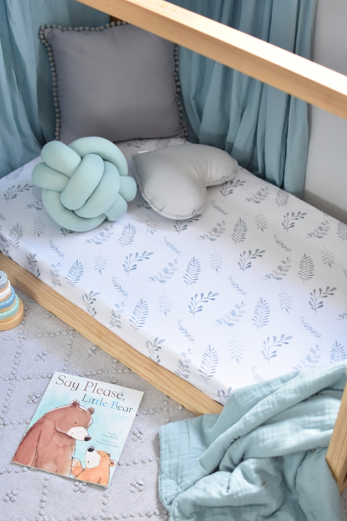 snuggle hunny fitted cot sheet in wild fern print