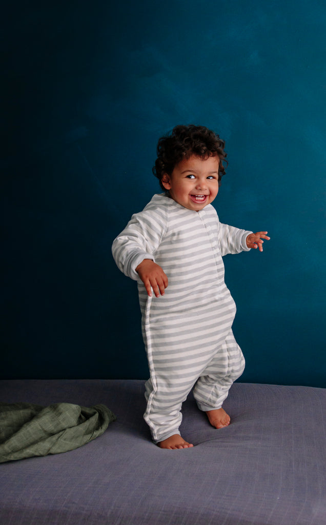 woolbabe duvet sleeping suit with arms in pebble stripe