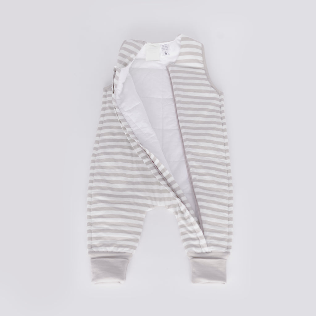 woolbabe duvet sleeping suit in pebble stripe