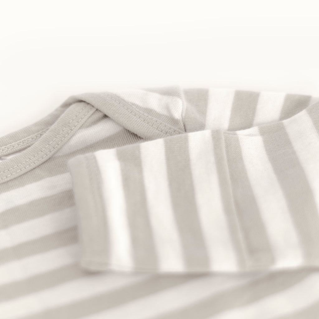 woolbabe merino cotton baby gown in pebble stripe