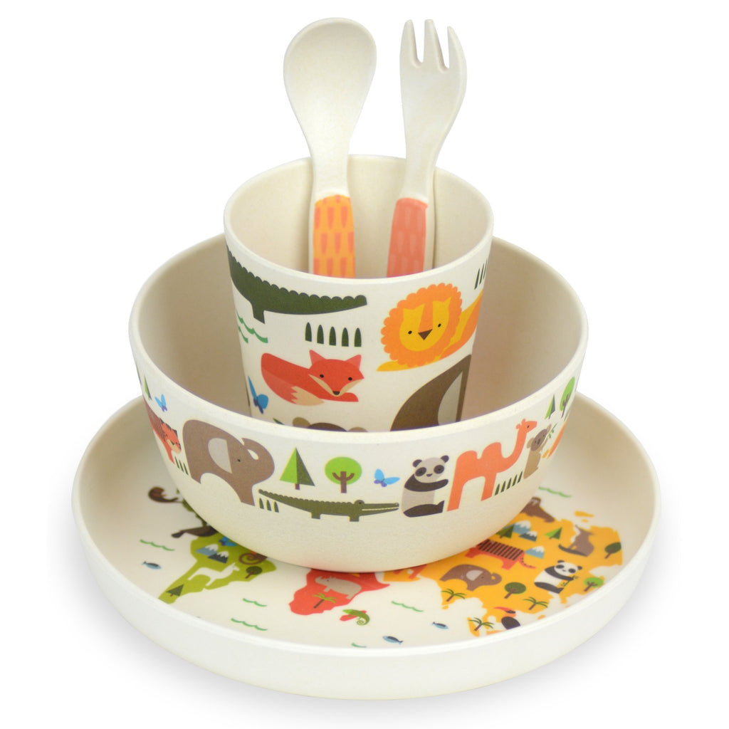 petit collage bamboo dinner set our world