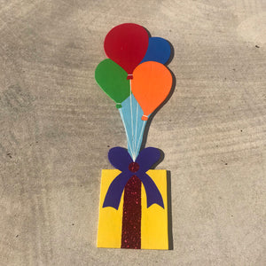Yellow Present with Balloons