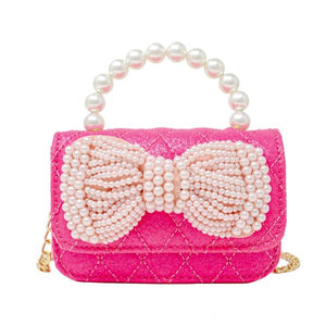 Quilted Bag with Pearl Bow - Hot Pink