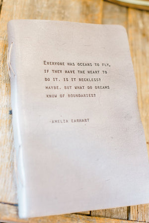 Grey Leather Journal Amelia Earhart