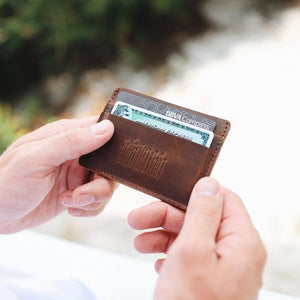 Flint Leather Co. Marlin Ultra Slim Wallet - The Palms Brown