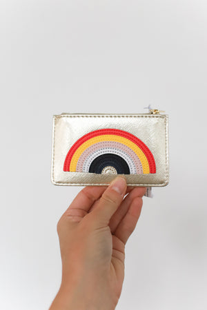 Gold w/ Rainbow Applique Card Purse