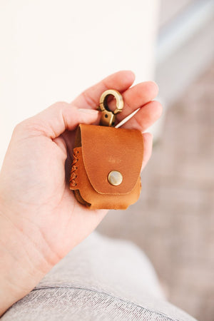Flint Leather Co. Air Pod Case - Brown