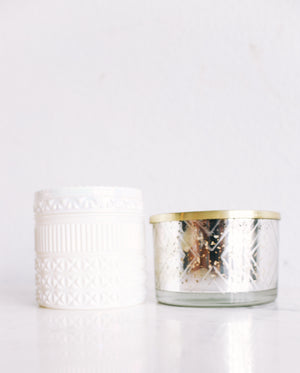 Capri Blue White Gilded Muse Faceted Jar Candle Volcano