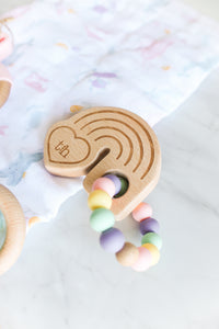 Rainbow Wooden Teether Rattle