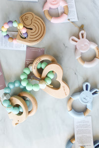 Heart Teething Rattle - Mint