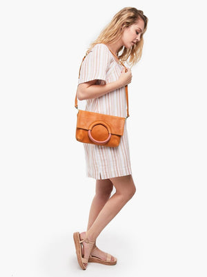 Able Fozi Leather Ring Handle Crossbody - Cognac/Rose