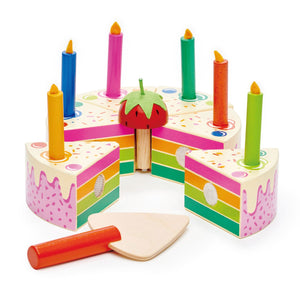 Wooden Rainbow Party Cake
