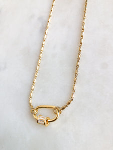 Medium Gold Isla Chain + Gold Crystal Oval Lock Necklace