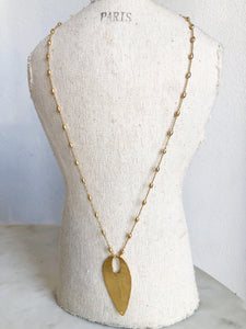 Gold Baby Pineapple Chain + Gold Hammered Pendant Necklace