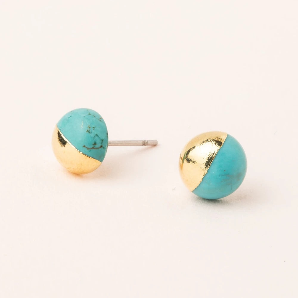 Turquoise + Gold Dipped Stone Stud Earrings