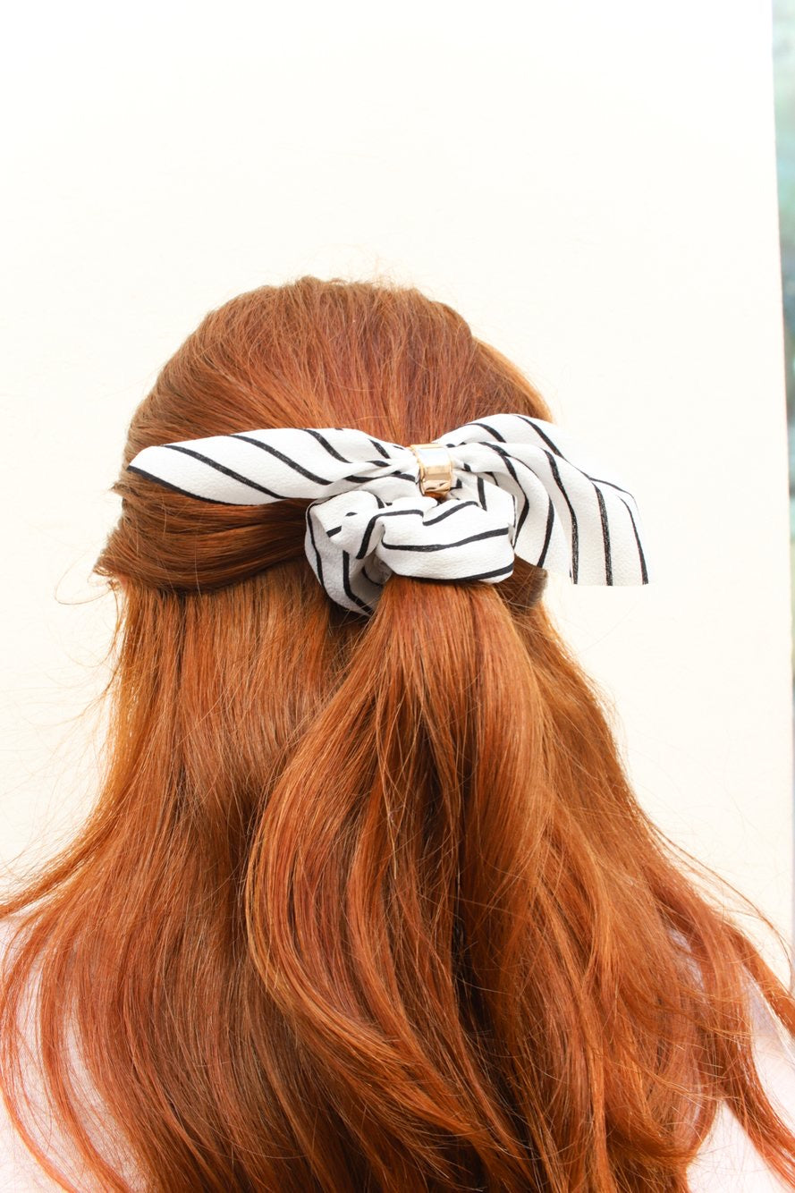 Tie Scrunchie - White Stripe