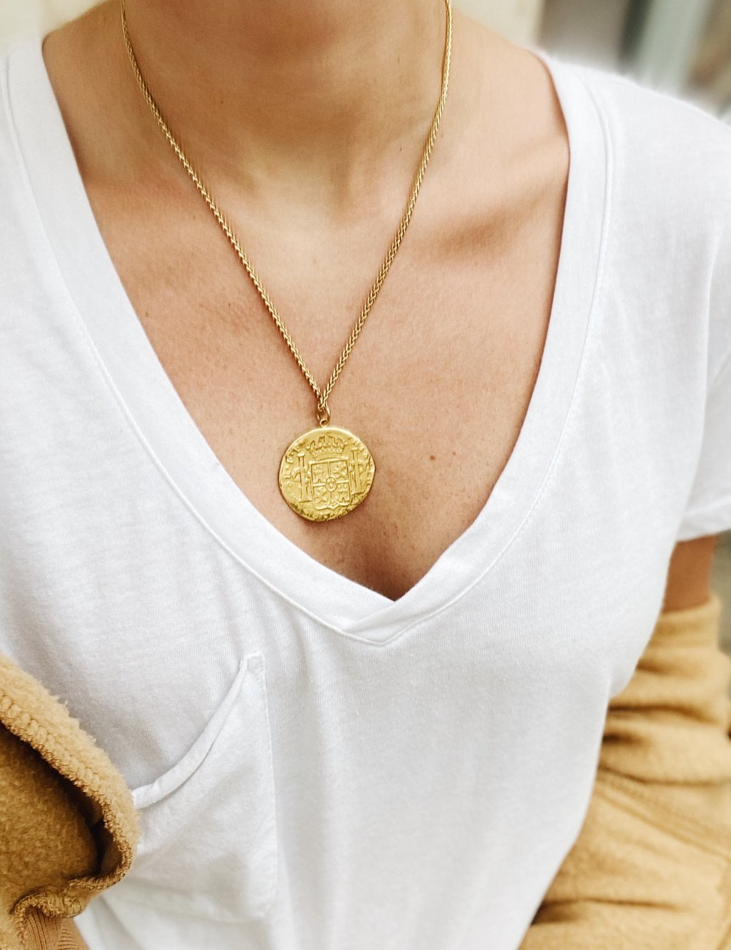 Large Gold Crest Coin Necklace