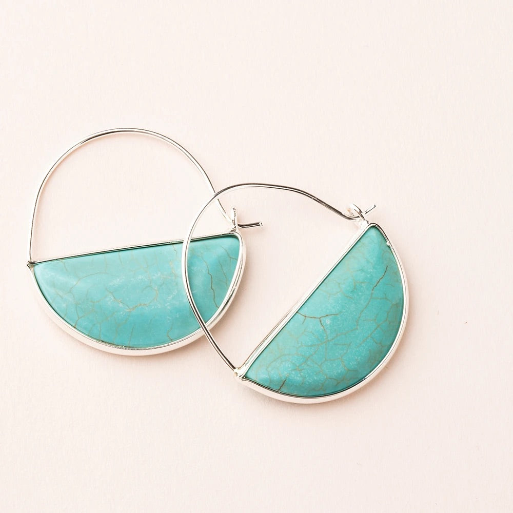 Turquoise + Silver Stone Prism Hoop Earrings
