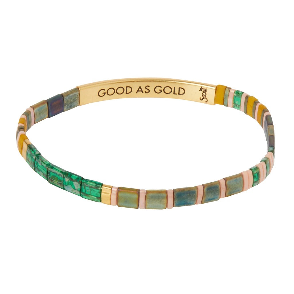 """Good As Gold"" Good Karma Miyuki Bracelet - Forest + Gold"