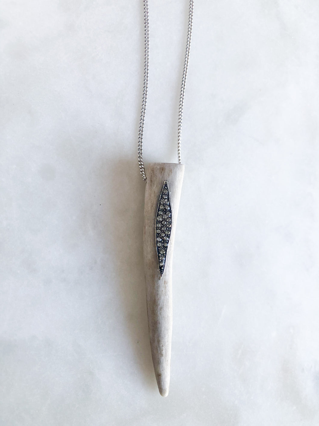 Small Antler + Silver Leaf Pendant Necklace