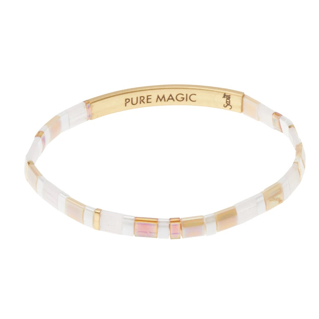"""Pure Magic"" Good Karma Miyuki Bracelet - Neutral + Gold"
