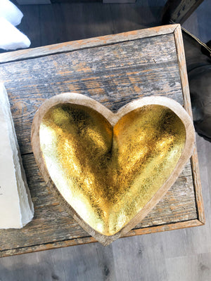 Mango Wood Gold Leaf Heart Bowl