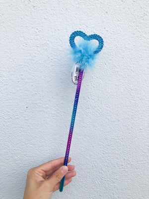 Rainbow Heart Fluffy Wand