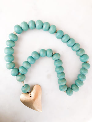 Aqua Wooden Beads w/ Gold Heart