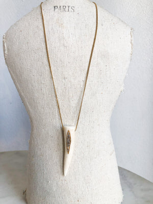 Deer Antler With Gold Leaf Necklace