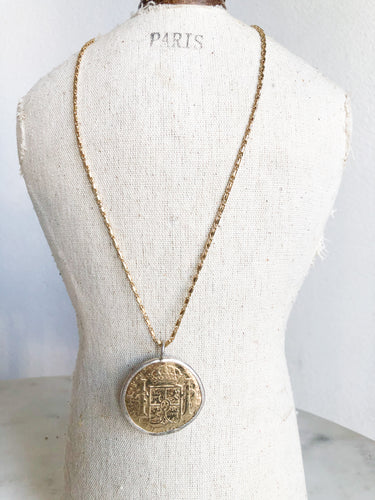 Gold Chain With Large Gold + Silver Coin Necklace