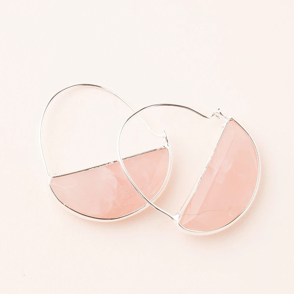 Rose Quartz + Silver Stone Prism Hoop Earrings